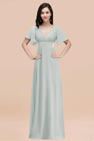 Simple A-Line Chiffon V-Neck Short-Sleeves Ruffles Floor-Length Bridesmaid Dresses_38
