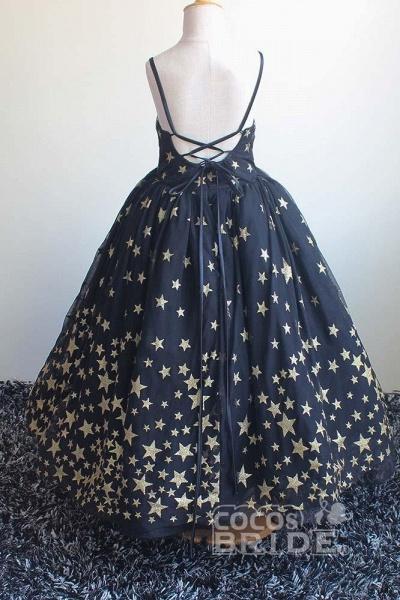 Navy Blue V-Neck Sleeveless Ball Gown Dress_4
