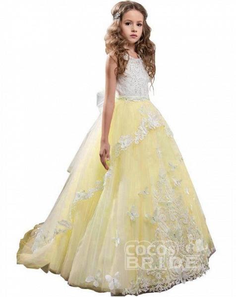 White Scoop Neck Sleeveless Ball Gown Flower Girls Dress_12