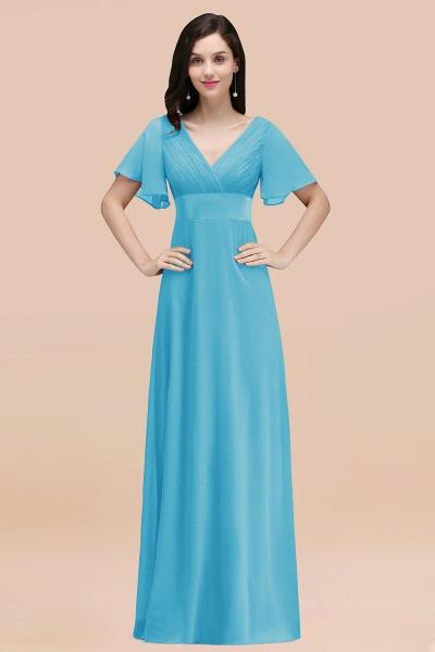 Simple A-Line Chiffon V-Neck Short-Sleeves Ruffles Floor-Length Bridesmaid Dresses_24