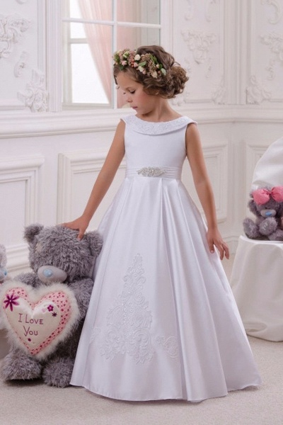White Scoop Neck  Sleeveless Ball Gown Flower Girls Dress