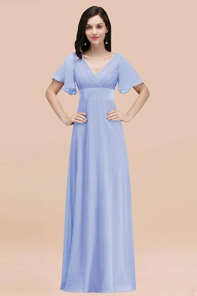 Simple A-Line Chiffon V-Neck Short-Sleeves Ruffles Floor-Length Bridesmaid Dresses_22