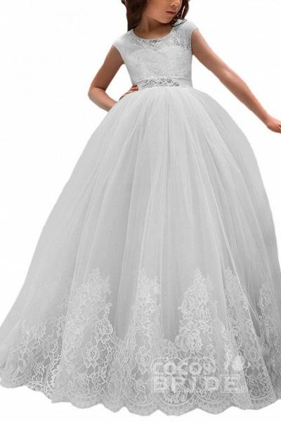 Pink Scoop Neck Sleeveless Ball Gown Flower Girls Dress_15