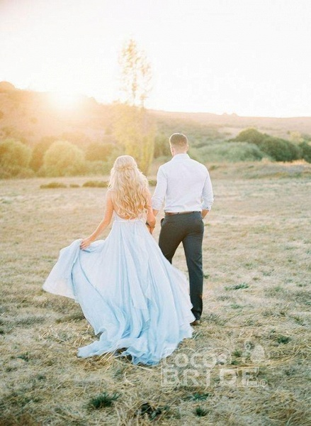 A-line Ruffles Sky Blue Rustic Wedding Dresses Beach Wedding Gown_15