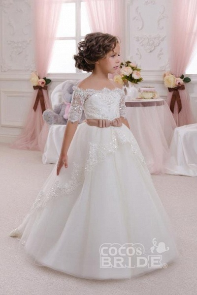 White Off The Shoulder 1/2 Sleeves Ball Gown Flower Girls Dress_6