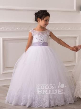 White Scoop Neck Sleeveless Ball Gown Flower Girls Dress_3