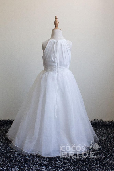 Ivory Scoop Neck Sleeveless Ball Gown Flower Girls Dress_4