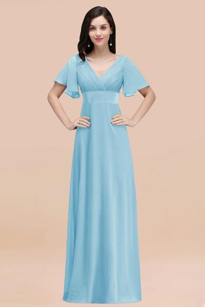 Simple A-Line Chiffon V-Neck Short-Sleeves Ruffles Floor-Length Bridesmaid Dresses_23