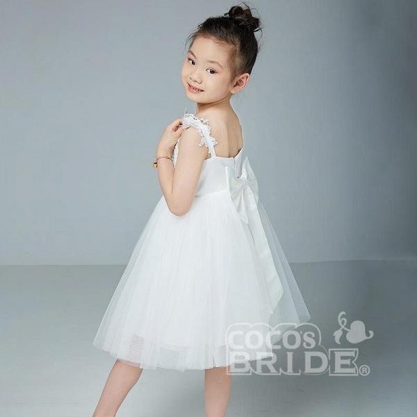 Beige V-Neck Sleeveless Ball Gown Flower Girls Dress_4