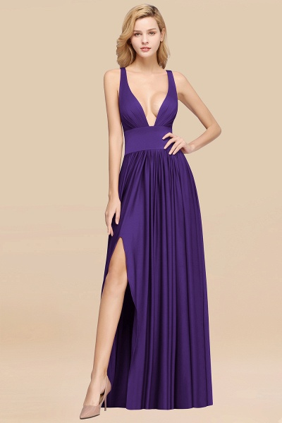 BM0141 A-Line V-Neck Sleeveless Long Ruffles Bridesmaid Dress_17
