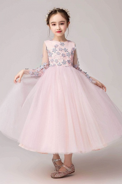 Pink Scoop Neck Long Sleeves Ball Gown Flower Girls Dress_1