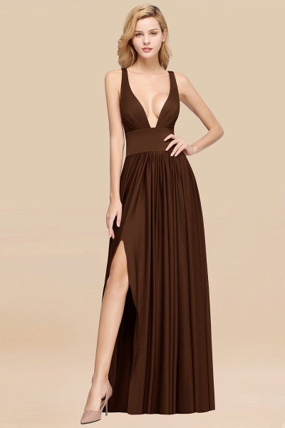 BM0141 A-Line V-Neck Sleeveless Long Ruffles Bridesmaid Dress_10