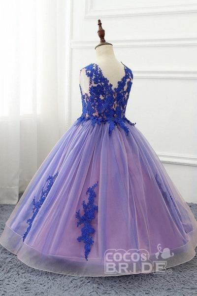 Red V-Neck Sleeveless Ball Gown Flower Girls Dress_3