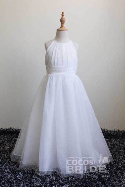Ivory Scoop Neck Sleeveless Ball Gown Flower Girls Dress_3