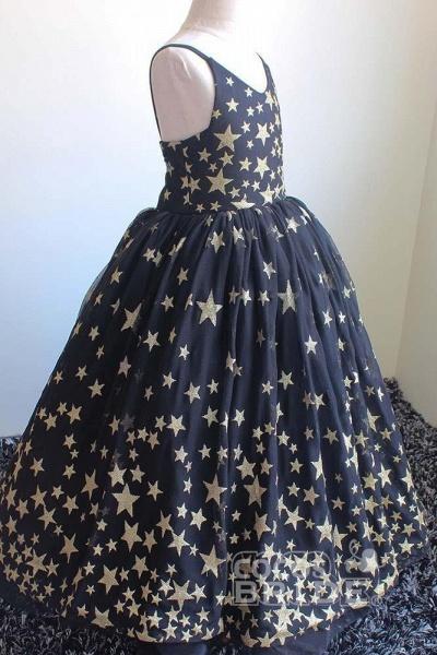 Navy Blue V-Neck Sleeveless Ball Gown Dress_3