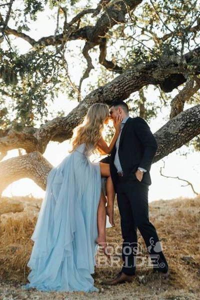 A-line Ruffles Sky Blue Rustic Wedding Dresses Beach Wedding Gown_7