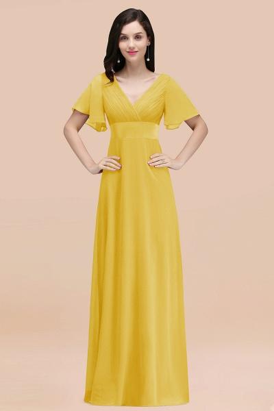 Simple A-Line Chiffon V-Neck Short-Sleeves Ruffles Floor-Length Bridesmaid Dresses_17