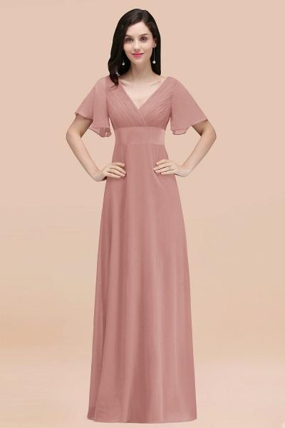 Simple A-Line Chiffon V-Neck Short-Sleeves Ruffles Floor-Length Bridesmaid Dresses_50