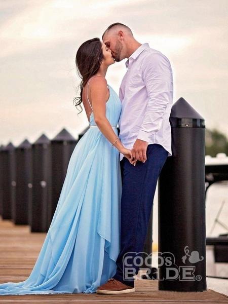 A-line Ruffles Sky Blue Rustic Wedding Dresses Beach Wedding Gown_2