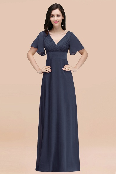 Simple A-Line Chiffon V-Neck Short-Sleeves Ruffles Floor-Length Bridesmaid Dresses_39