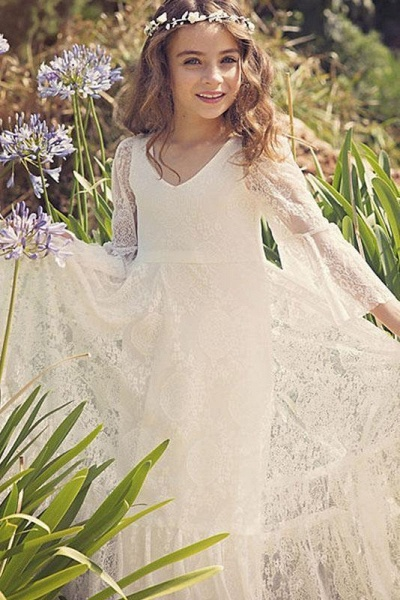 White Scoop Neck Long Sleeves Dress Flower Girls Dress_1