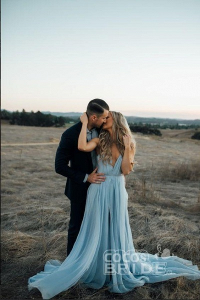 A-line Ruffles Sky Blue Rustic Wedding Dresses Beach Wedding Gown_14