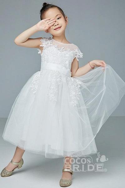 Beige Scoop Neck Short Sleeves Ball Gown Flower Girls Dress_3