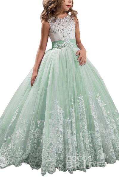 White Scoop Neck Sleeveless Ball Gown Flower Girls Dress_15