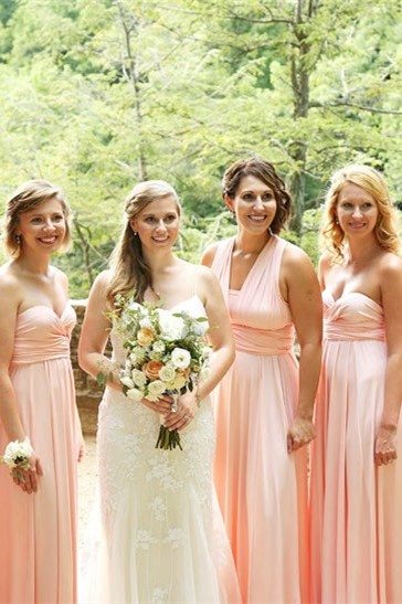 Convertible Long A-line Dusty Pink Bridesmaid Dresses | Multiway Infinity Dress_1