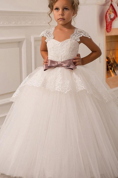 White Square Neck Cap Sleeves Ball Gown Flower Girls Dress