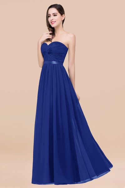 Elegant A-Line Chiffon Sweetheart Sleeveless Floor-Length Bridesmaid Dress with Ribbon_26
