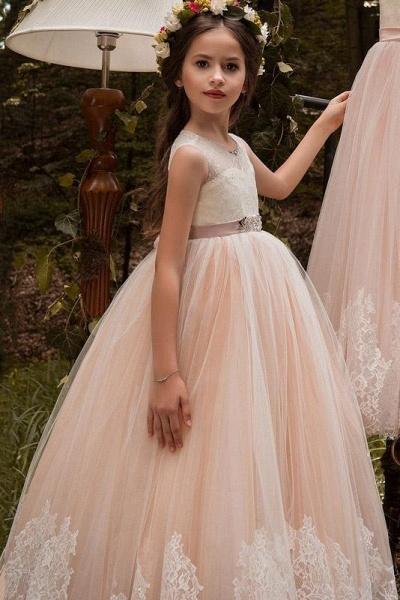 Pink Scoop Neck Sleeveless Ball Gown Flower Girls Dress_1