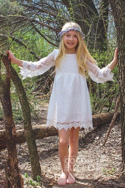 Ivory Scoop Neck Long Sleeves A-Line Flower Girls Dress_4