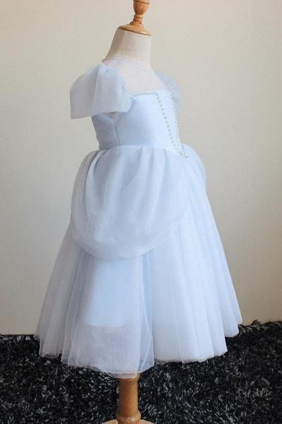 Light Blue Scoop Neck Short Sleeves Ball Gown Dress_1