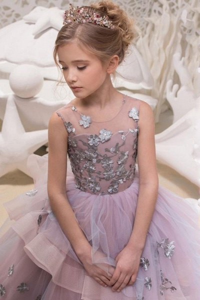 Scoop Neck Sleeveless Ball Gown Flower Girls Dress_2