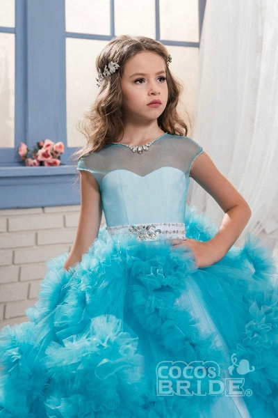 Violet Scoop Neck Short Sleeves Ball Gown Flower Girls Dress_3