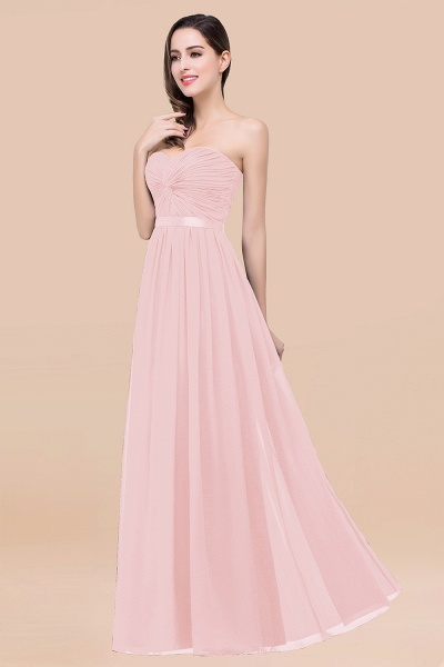 Elegant A-Line Chiffon Sweetheart Sleeveless Floor-Length Bridesmaid Dress with Ribbon_3