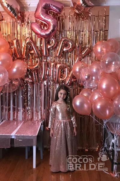 Golden Scoop Neck Long Sleeves Princess Dress_4