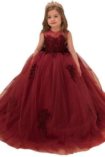 Burgundy Scoop Neck Sleeveless Ball Gown Flower Girls Dress_1