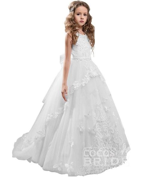White Scoop Neck Sleeveless Ball Gown Flower Girls Dress_13