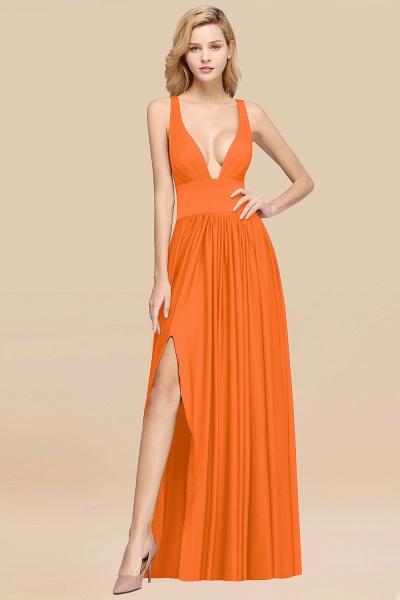 BM0141 A-Line V-Neck Sleeveless Long Ruffles Bridesmaid Dress_14