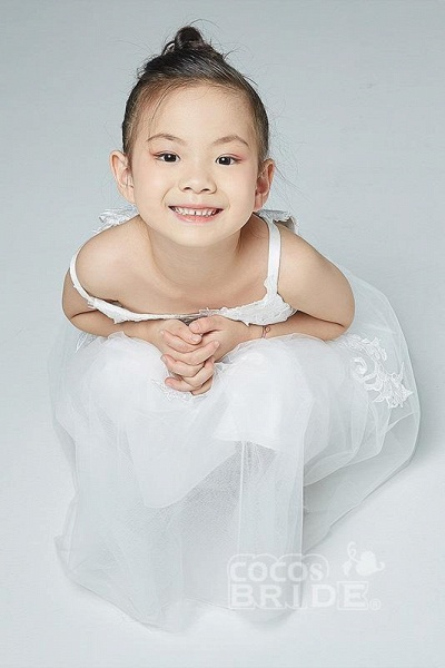 V-Neck Sleeveless Ball Gown Flower Girls Dress_3