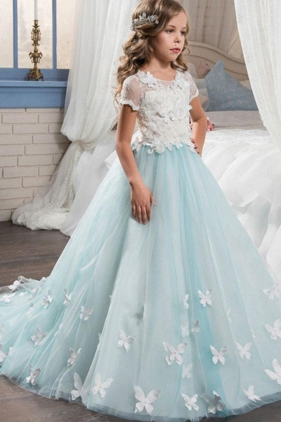 Pink Scoop Neck Short Sleeves Ball Gown Flower Girls Dress