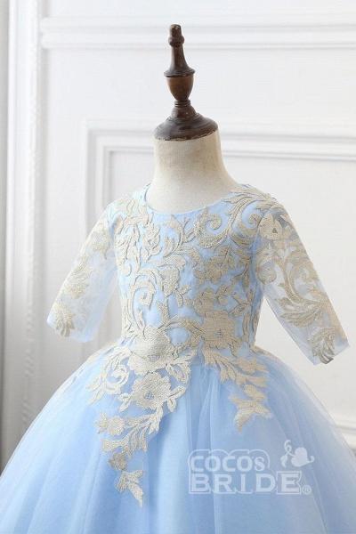 Light Blue Scoop Neck 1/2 Sleeves Ball Gown Flower Girls Dress_2