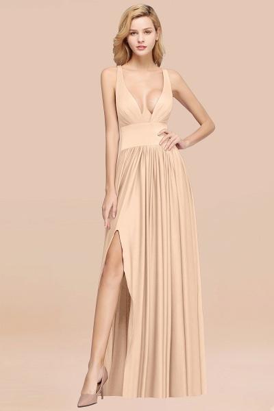 BM0141 A-Line V-Neck Sleeveless Long Ruffles Bridesmaid Dress_13