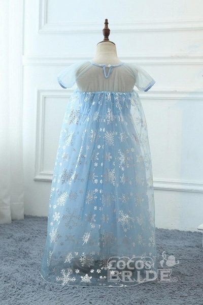 Light Blue Short Sleeves  Scoop Neck A-line Flower Girl Dresses_2