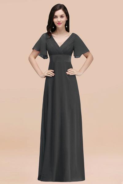 Simple A-Line Chiffon V-Neck Short-Sleeves Ruffles Floor-Length Bridesmaid Dresses_46