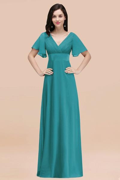 Simple A-Line Chiffon V-Neck Short-Sleeves Ruffles Floor-Length Bridesmaid Dresses_32