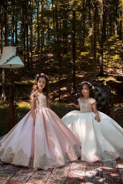 Light Pink Scoop Neck Short Sleeves Ball Gown Flower Girls Dress