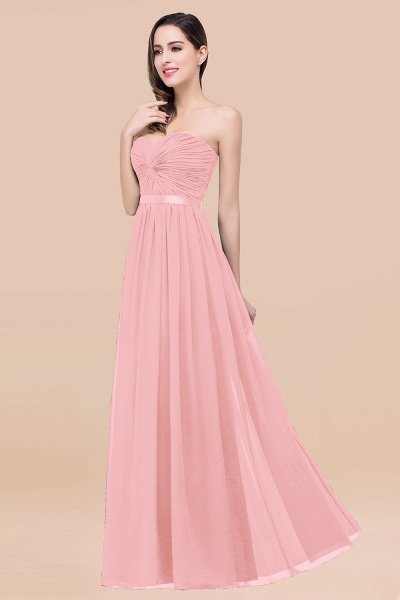 Elegant A-Line Chiffon Sweetheart Sleeveless Floor-Length Bridesmaid Dress with Ribbon_4